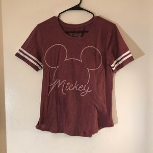 Disney Mickey Maroon Red Graphic Scoop T-Shirt